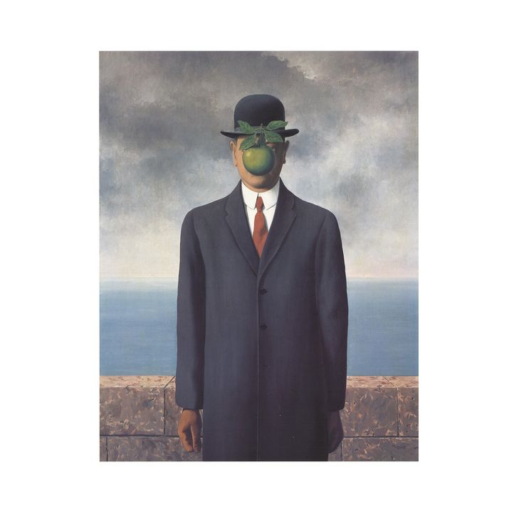Son of Man by Rene Magritte Unframed Wall Art Print (Small), Blue