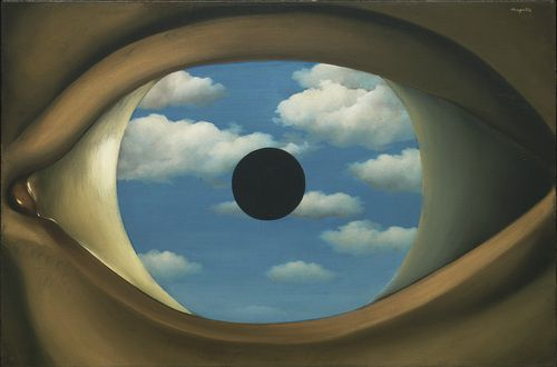 """The False Mirror  René Magritte (Belgian, 1898-1967)    Le Perreux-sur-Marne, 1928. Oil on canvas, 21 1/4 x 31 7/8"""" (54 x 80.9 cm). Purchase. © 2012 C. Herscovici, Brussels / Artists Rights Society (ARS), New York  133.1936"""