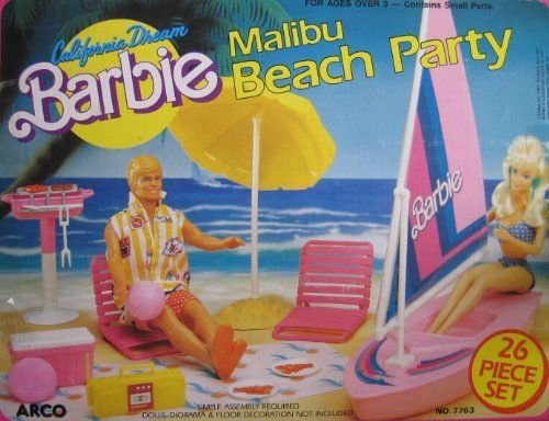 California Dream BARBIE Malibu Beach Party 26 Piece Playset (1987 Arco Toys, Mattel) by Arco Toys, Mattel - made in Thailand. $289.99