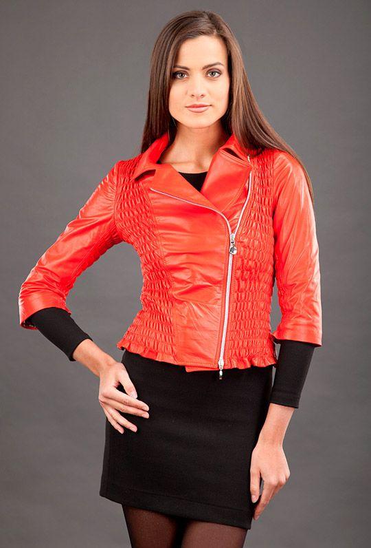 женские стильные кожаные куртки 2014, новинки сезона фото
