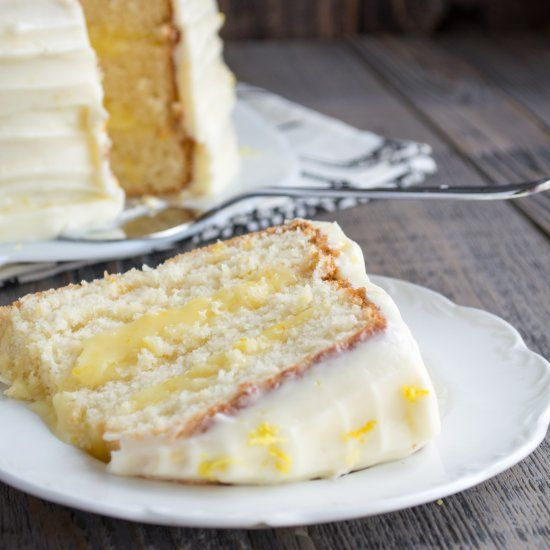 Lemon Chiffon Cake. Layers of lemon angel food cake filled with lemon curd and topped with lemon cream cheese frosting.