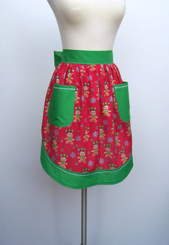 Cute Christmas Retro Half Apron / Red and Green by CremeDeLaHem, $34.00