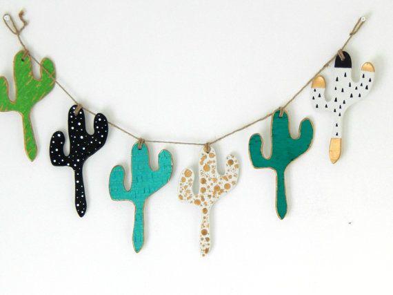 Cactus Bunting Cacti Decor OOAK Nursery by TheMintyMountain