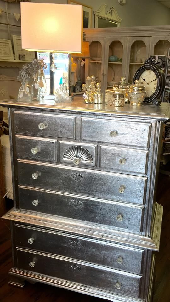 The Vintage Nest created the beautiful finish on this chest of drawers using Artisan Enhancements Leaf and Foil size and Silver Foil. It was then sealed with Clear Finish to enhance the clarity and sheen of the metallic finish.
