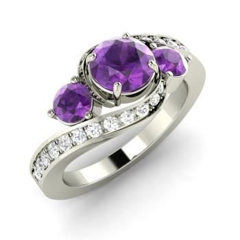 Amethyst Sidestone Ring in 14k White Gold with SI Diamond