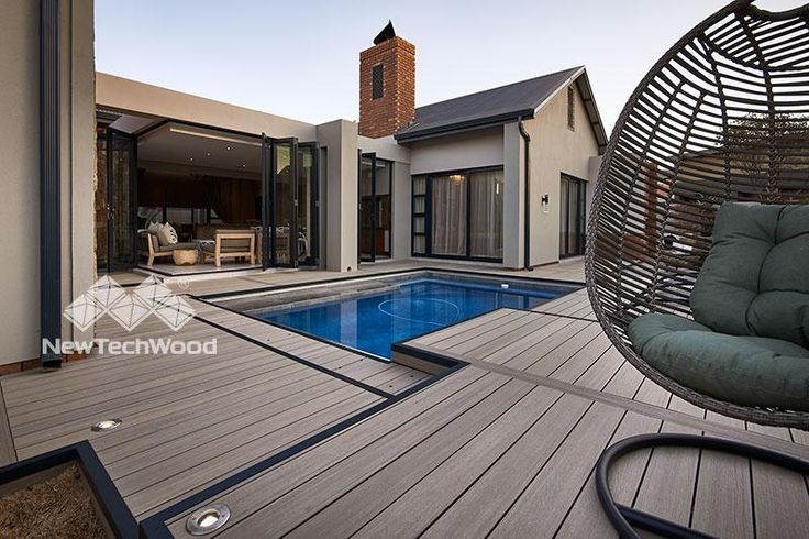 NewTechWood (with Ultrashield) Antique decking with black aluminum trim
