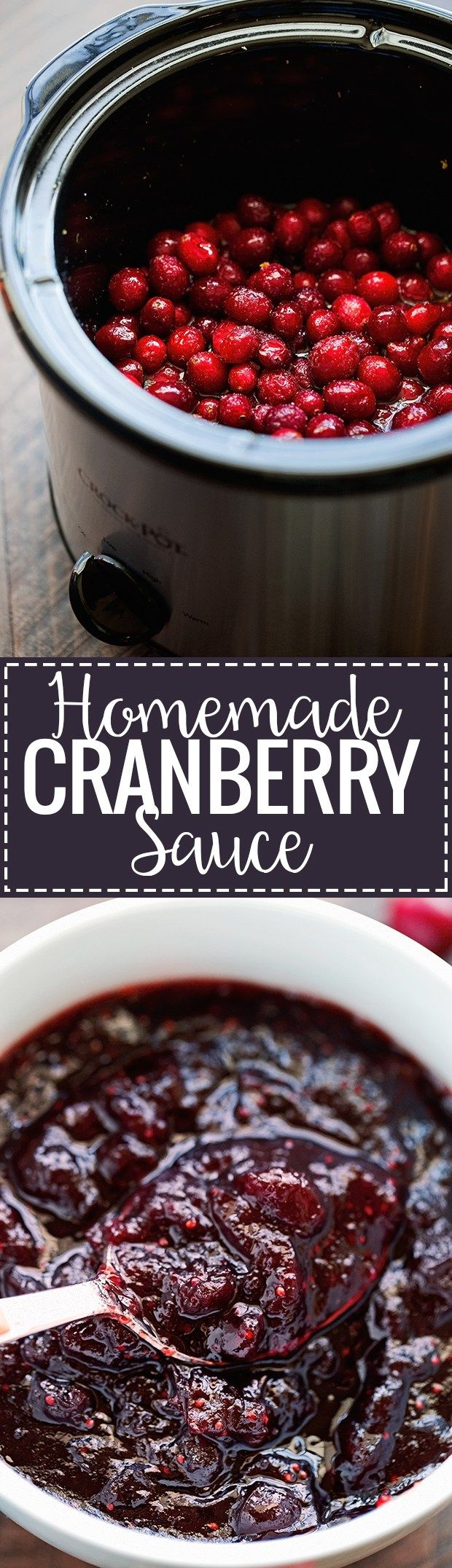 Homemade Cranberry Sauce (Slow Cooker) - an easy recipe that cooks itself in the slow cooker and can be made ahead! #cranberrysauce #slowcooker #slowcookercranberrysauce   Littlespicejar.com