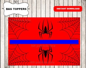 Spiderman logo bags toppers instant download , Spiderman treat bags toppers, Printable Spiderman bags toppers