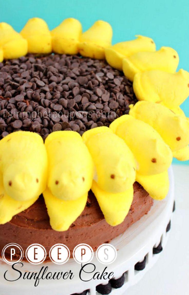 Peeps Sunflower Cake (Super Easy!) on MyRecipeMagic.com