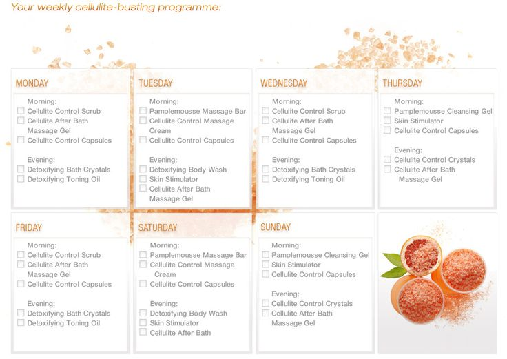 Our weekly anti-cellulite program for you to print out and pin up! http://www.shzen.co.za/body_anti_cellulite_programme.php