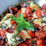caprese chicken - this goes straight into rotation, used 1 pint of cherry tomatoes, served with noodles and steamed veg