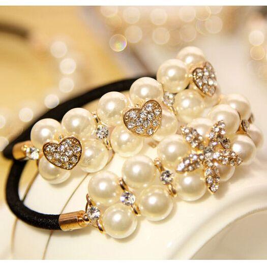 Fashion Crystal Pearl Hair Scrunchies, Girls Ponytail Hair Band. Woman hair accessories elastic hair band Scrunchy