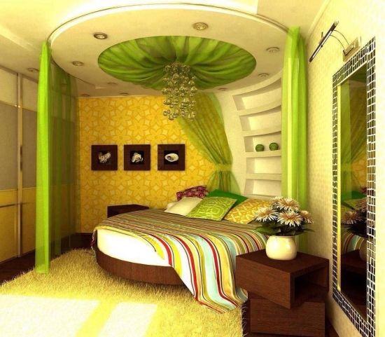 Dormitor cu verde si pat rotund