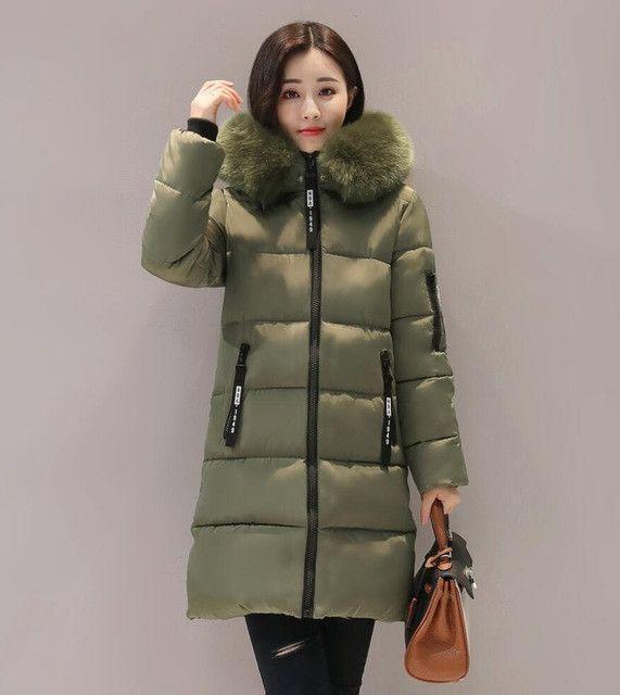 Orwindny Thick Warm Winter Jacket Women Slim Fashion Letter Ladies Parkas Hooded With Big Fur Collar Plus Size M-3XL Cotton Coat