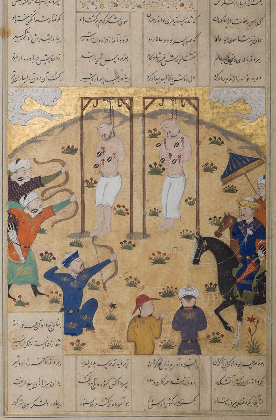 Ardeshir killed the worm by pouring molten lead into its mouth. He then had Haftvad and his son Shahuy suspended from gibbets and shot with arrows — this image illustrates their gruesome fate. On the right, Ardeshir, crowned and under the royal parasol, makes a gesture known as 'biting the finger of surprise'.