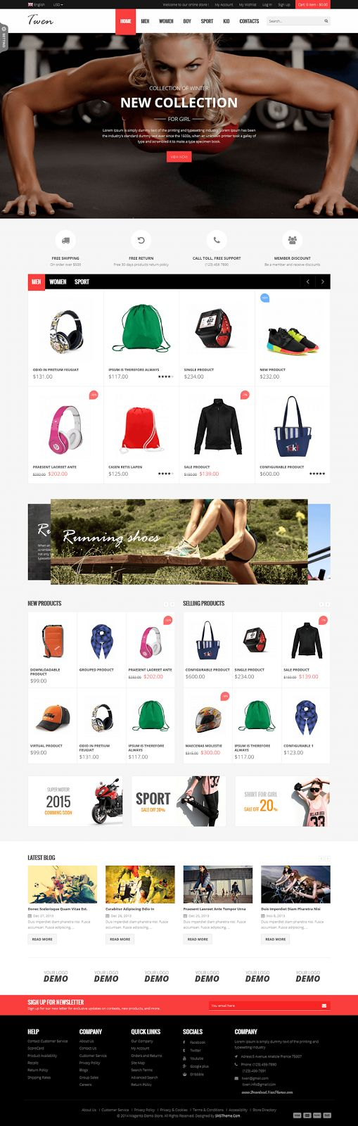 SNS Twen Latest Clean Design Responsive #Magento Theme #webdesign #shop #eCommerce