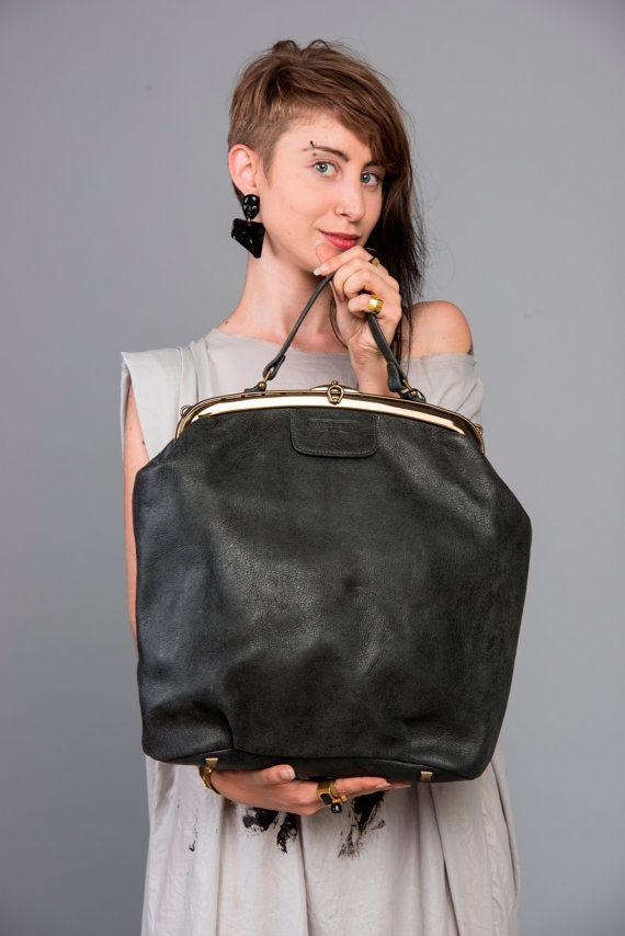 Black Leather Tote Bag / Cross Body Office Bag / Women Oversize purse / Shoulder Bag / Evening Bag / Every Day Bag / Hand Bag - Magnolia
