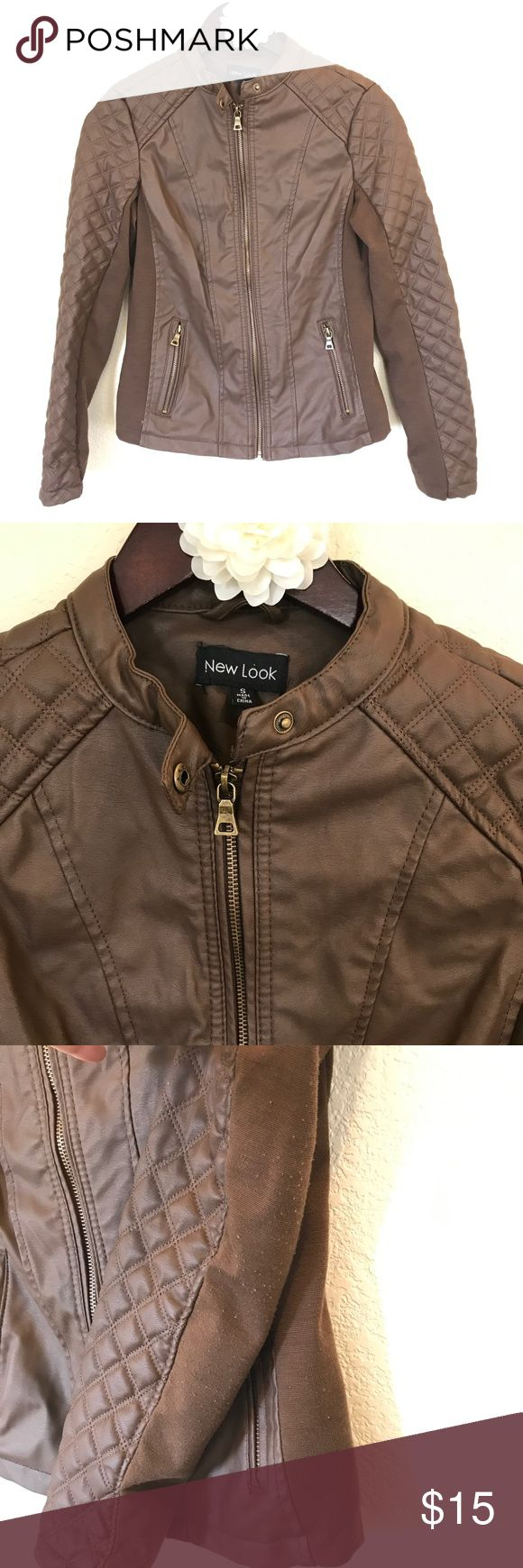 Brown faux leather jacket bomber quilted small Cute little brown faux leather jacket. There is some pilling on the inner arms where it is just regular fabric, but I haven't taken the fabric shaver to it yet, I bet it will clean up nicely. Size small. New Look Jackets & Coats