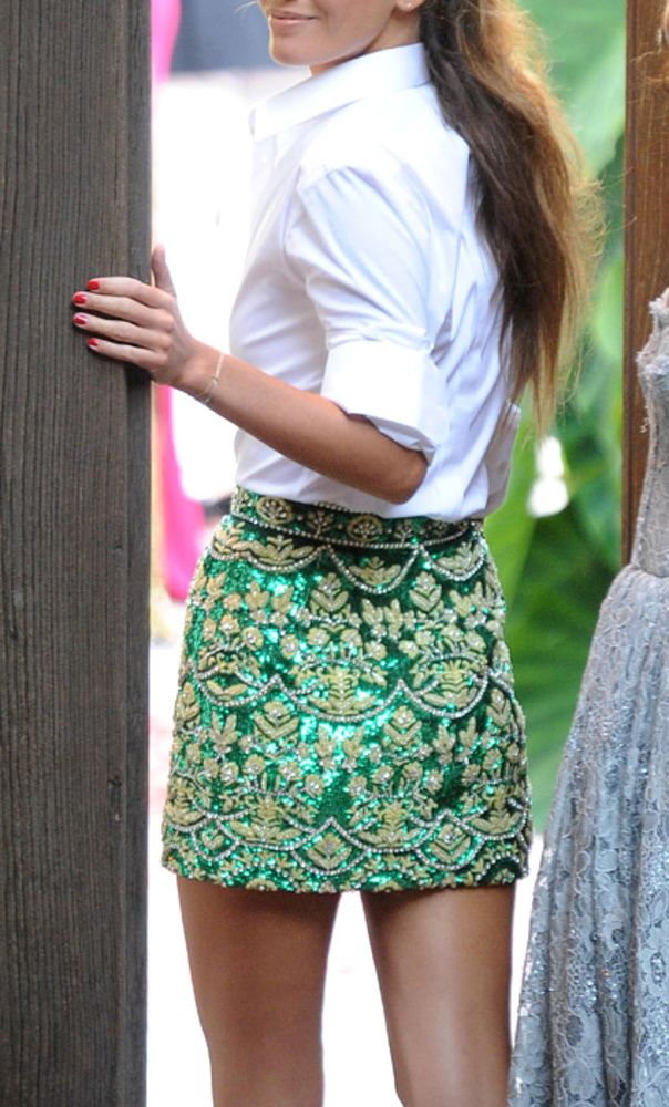 CHIC street style   emerald brocade skirt with white button down shirt