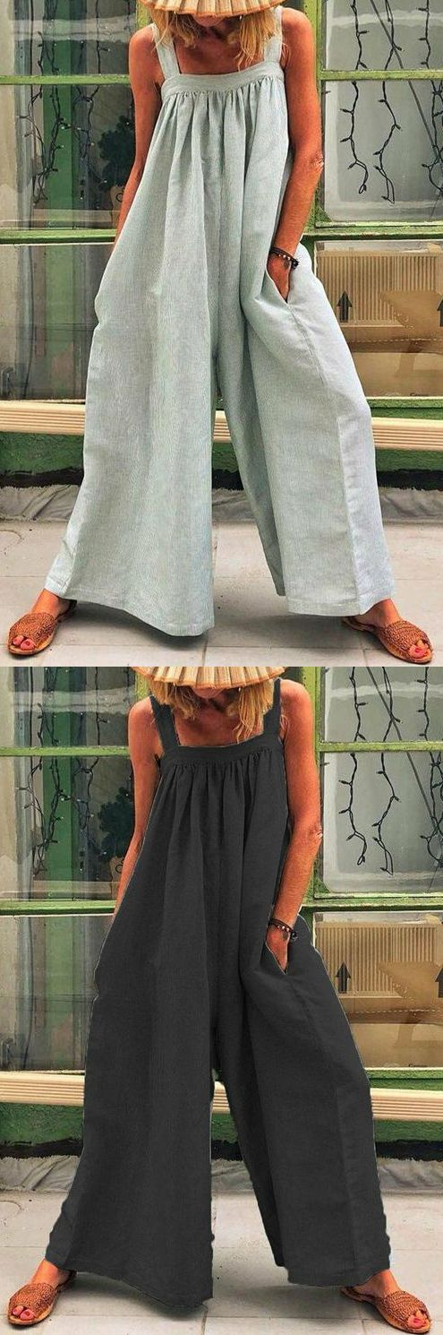 $32.99 SALE! SHOP NOW>>Solid Color Casual Sling Loose Jumpsuit