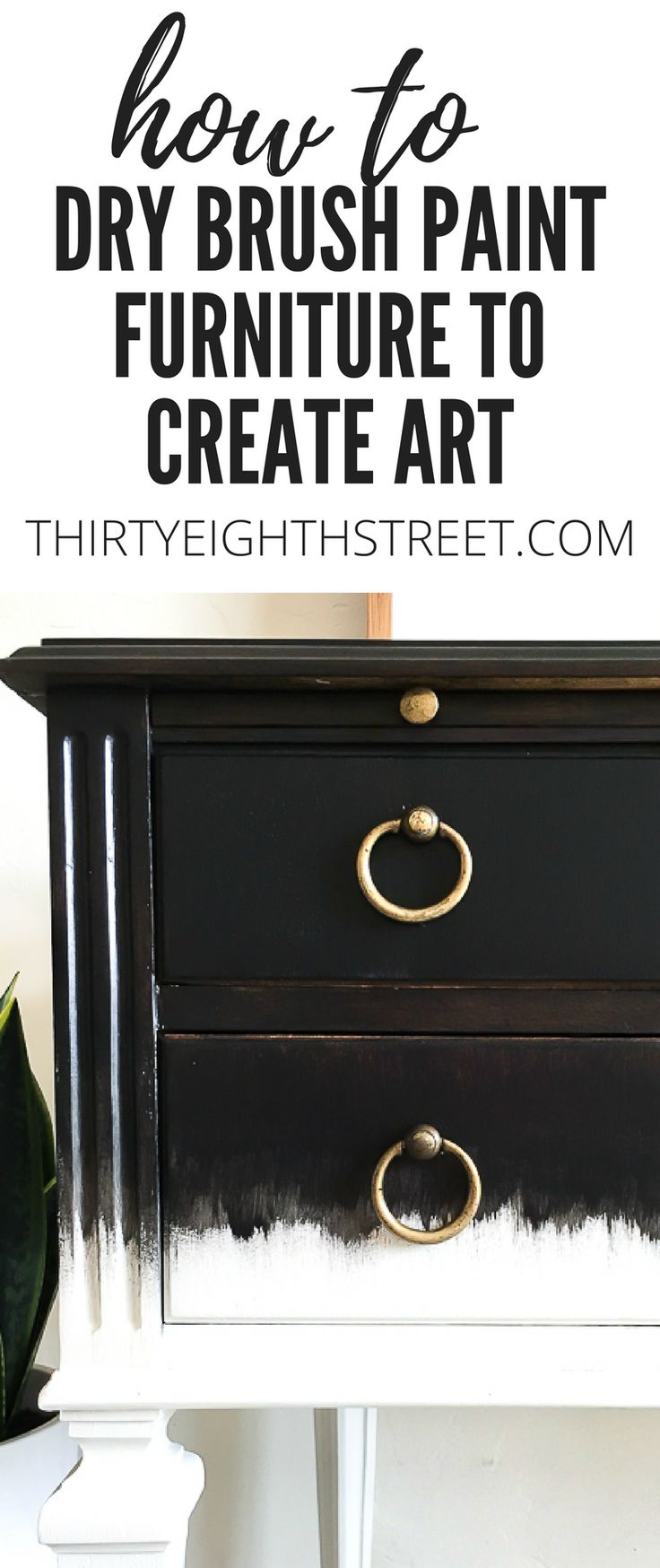 How To Dry Brush Paint Furniture To Create Furniture Art. Dry Brushing Painting Technique. Create Unique Furniture By Dry Brushing Paint. Black and White Furniture Ideas. Painted Desk. Black and White Desk. Painting Technique For Furniture. #drybrush #drybrushing #drybrushpaint #painteddesk #blackandwhite #furnitureart