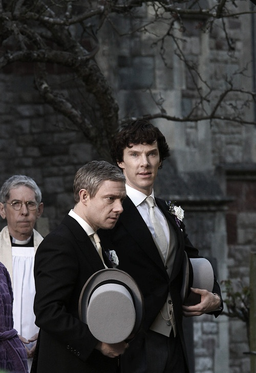 teaser shot from Sherlock, Series 3!!!! It looks like they're at a wedding...