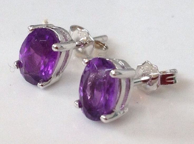 Amethyst gemstone oval faceted claw set stud earrings. Solid Sterling Silver. Actual ones shown. Supplied in an attractive gift pouch. Lovely strong colour. We normally do this in the evening, for your information. | eBay!