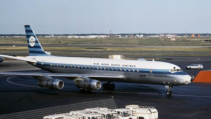 "KLM Douglas DC-8-55F PH-DCT ""Pierre de Coubertin"" arriving at New York-JFK, June 1964. (Photo: Jon Proctor)"
