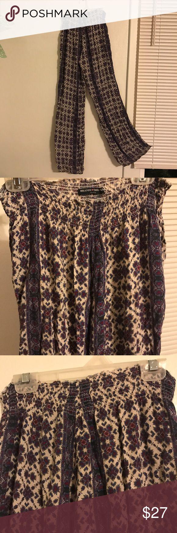 Brandy Melville Flowy Pants Tribal print Pants Wide Leg
