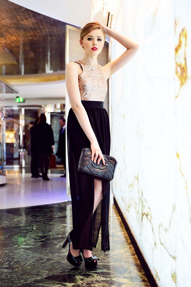 metallic top with maxi skirt