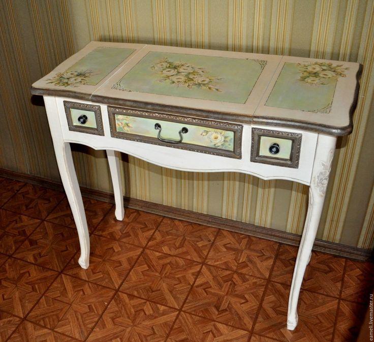 """Купить Столик с зеркалом """"Нежность роз"""" - белый, стол, ручная работа, шебби-шик, розы"""