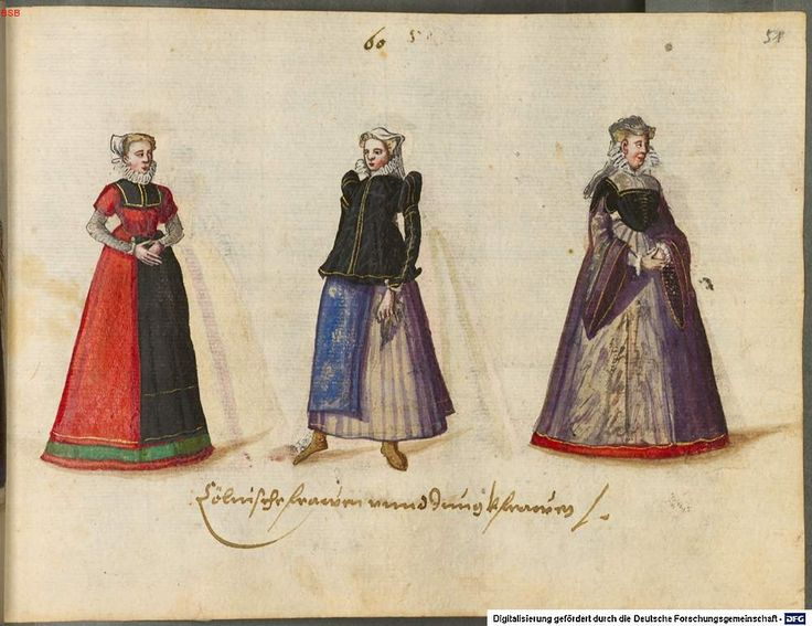 """Women and virgins of Cologne. """"Costumes of the 16th century from Western and Eastern Europe, the Orient, the New World and Africa"""""""