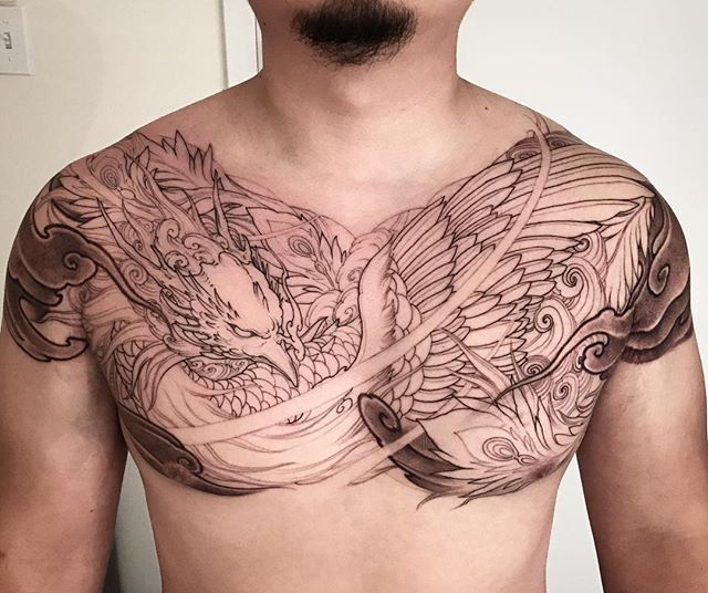 Phoenix full chest tattoo in progress @chronicink sponsored by @tatsoul @fytsupplies #workproud #wearproud