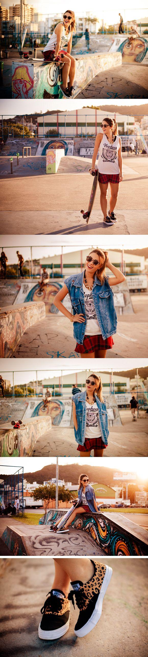 Editorial Skate Lovers por Fofochic- Muscletee nephew + Sunglasses ANIMAL + Saia Xadrez e Maxicolar >> SHOP NOW: www.modeoficial.com