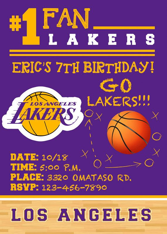 Birthday Invitations Nba Lakers Party Any By