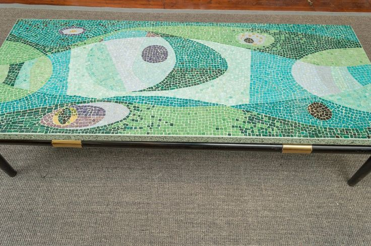 Mid-Century Modern Mosaic Coffee Table | From a unique collection of antique and modern coffee and cocktail tables at https://www.1stdibs.com/furniture/tables/coffee-tables-cocktail-tables/
