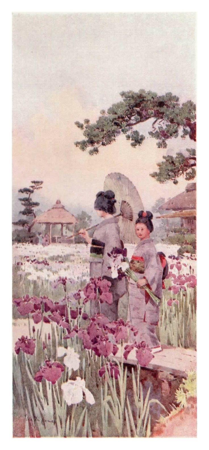 """Irises, Horikiri"" by Ella Du Cane. Dressed in traditional costume, two Japanese ladies enjoy a walk around one of Japan's famous gardens."