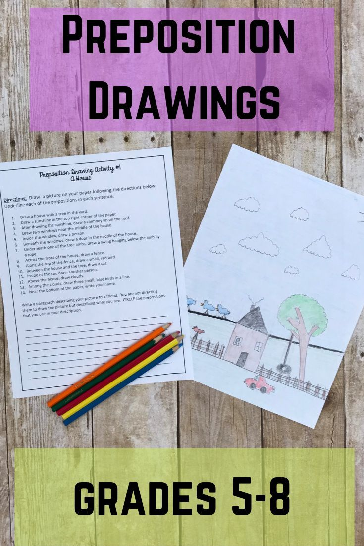 Prepositions Drawings Activities Print Digital Option Included Teaching Prepositions Prepositions Middle School Language Arts [ 1102 x 735 Pixel ]
