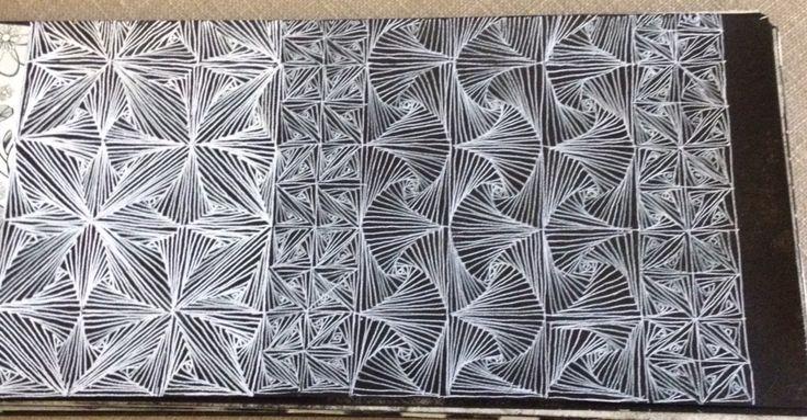 White pen design on black paint