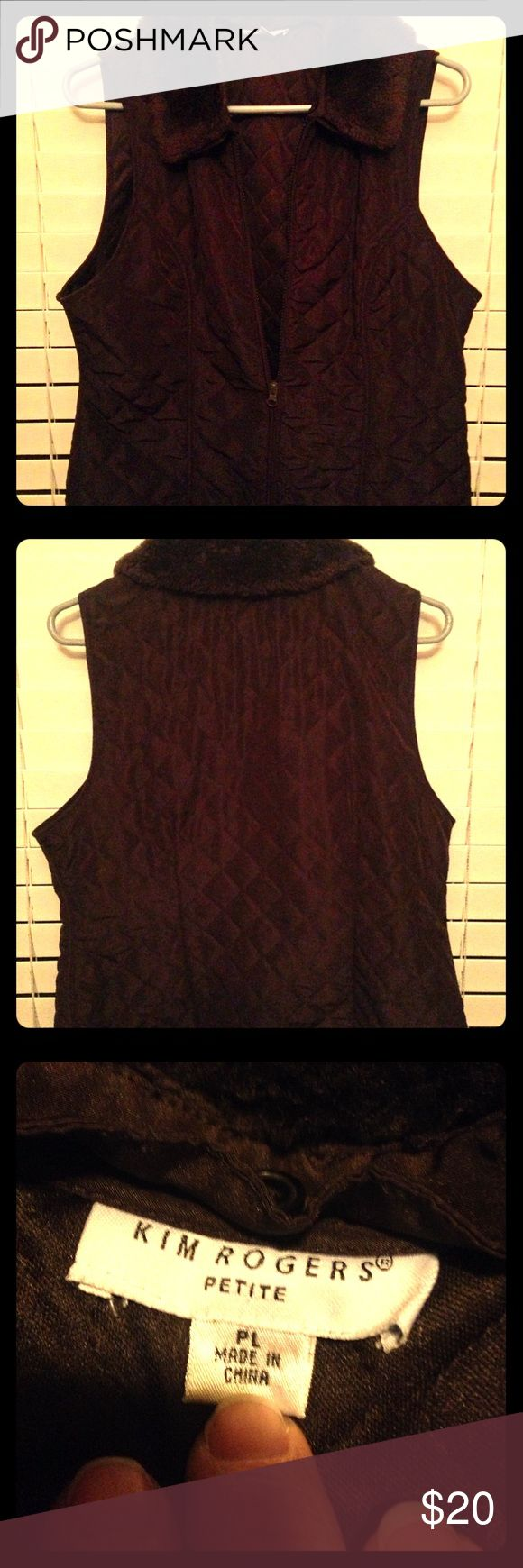 Brown Zip-up Vest Kim Rogers Brown Zip-up Vest with Removable Faux Fur Collar Kim Rogers Jackets & Coats Vests