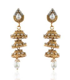 Buy Polki Triple Bell Copper Jhumkis in White jhumka online