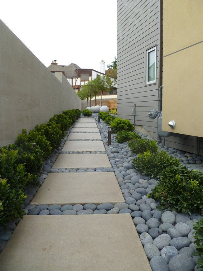 contemporary side yard with pavers and river rock