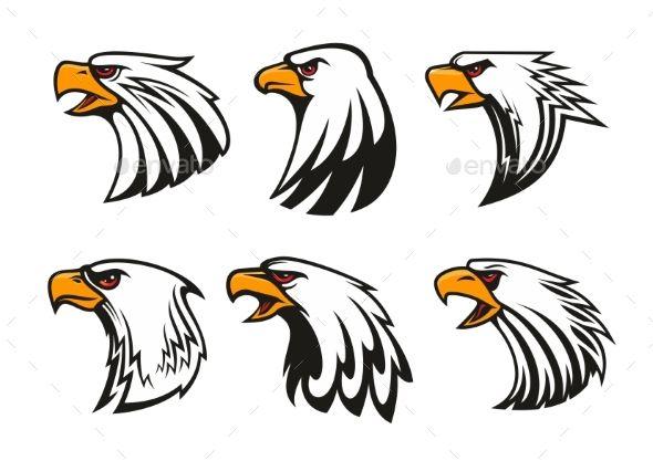 Bald Eagle Icons Set Vector Emblems With Images  Eagle -6581