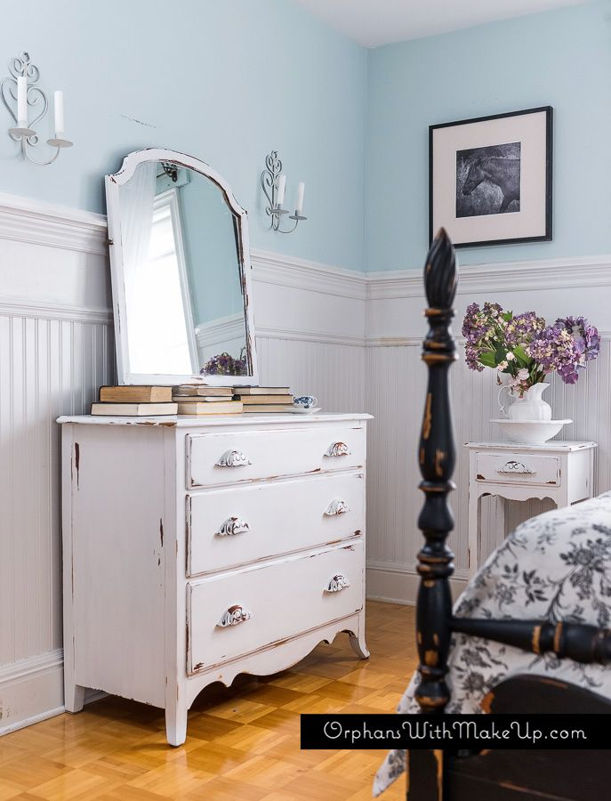 black white painted and distressed bedroom set