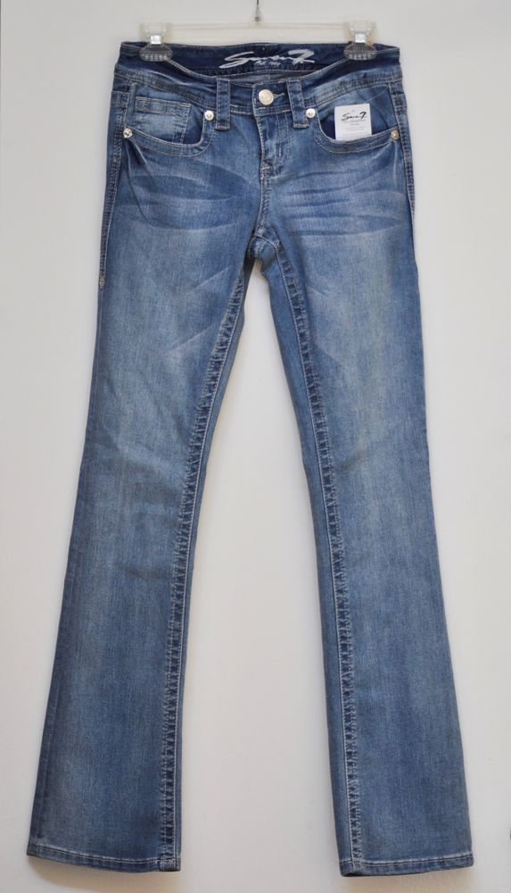 Seven7 Super Stretch Boot Cut Jeans Distressed Low Rise inseam 32 size 2 NWT #seven7 #BootCut