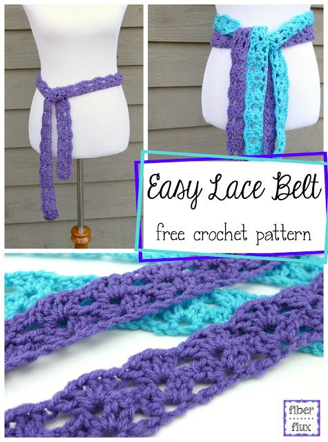 Easy Lace Belt, free crochet pattern + full video tutorial from Fiber Flux!                                                                                                                                                      More