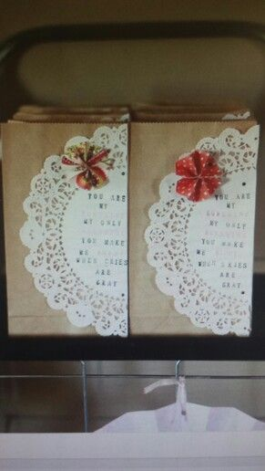 Paper doily gift wrapping