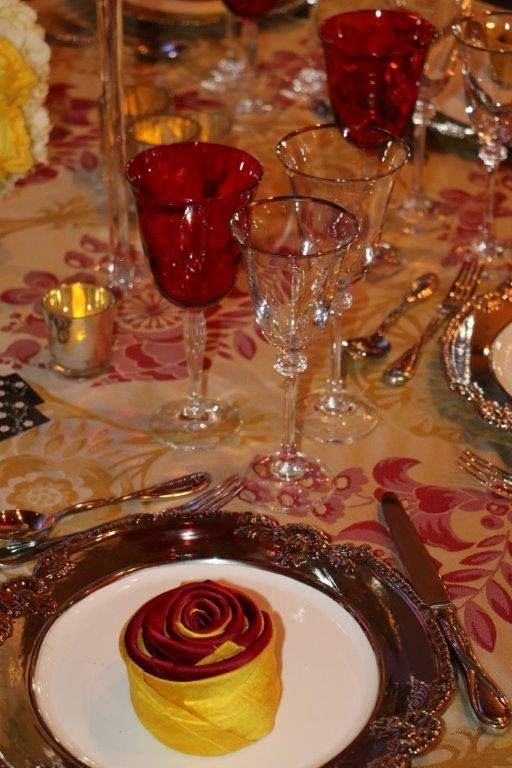 Wedding Table Setting Red And Gold Colors Loudoun