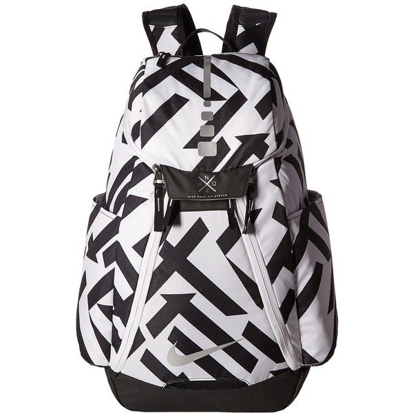 Nike Hoops Elite Max Air Backpack (White/Black/Metallic Silver)... ($63) ❤ liked on Polyvore featuring bags, backpacks, day pack backpack, zip bag, nike knapsack, nike bags and black and white backpack