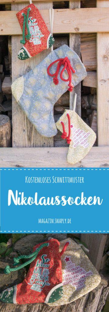 Kostenloses Schnittmuster: Nikolaussocken   Snaply-Magazin